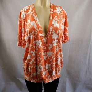 D & Co Denim + Company Orange White Floral Size XL